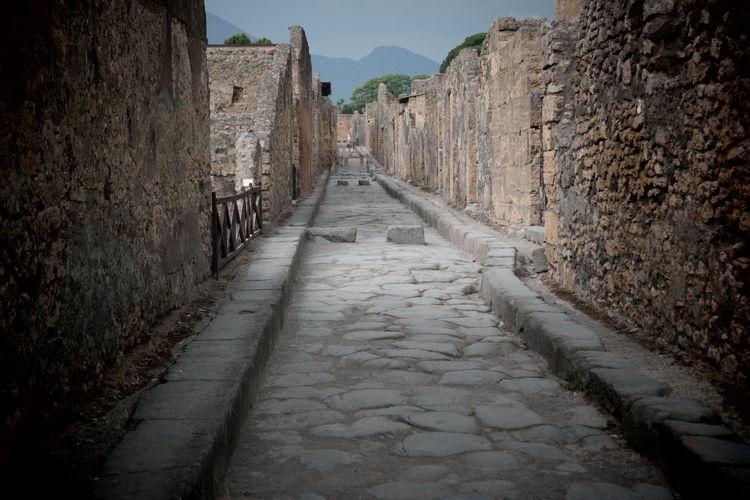Empty narrow street of pompeii