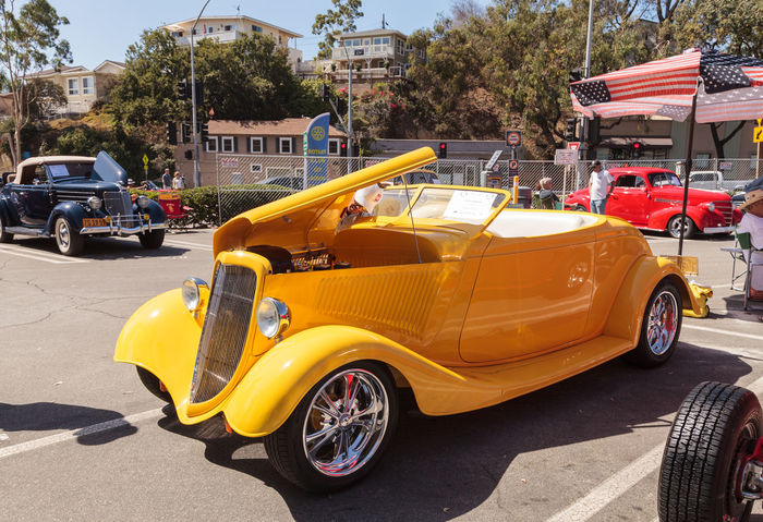 Laguna Beach, CA, USA - October 2, 2016: Yellow 1934 Ford Roadster owned by Mauricio Vivanco and displayed at the Rotary Club of Laguna Beach 2016 Classic Car Show. Editorial use. 1934 Automobile Car Show Classic Auto Classic Car Classic Car Show Day Ford Ford Roadster Laguna Beach No People Old Car Outdoors Roadster Vintage Auto Vintage Car
