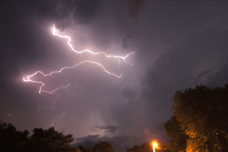 Beauty In Nature Cloud - Sky Communication Electricity  Extreme Weather Forked Lightning Illuminated Light Lightning Low Angle View Nature Night No People Ominous Outdoors Power Power In Nature Sign Sky Storm Storm Cloud Thunderstorm Tree Warning Sign