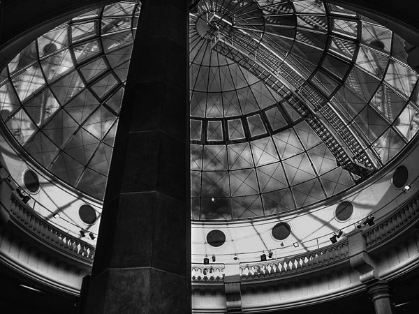 Architectural Detail Architectural Feature Architecture Architecture_bw Architecture_collection Arts Culture And Entertainment Building Building Exterior Built Structure Ceiling Design Dome Glass Glass - Material Glass Reflection Ladyphotographerofthemonth Low Angle View Modern Pattern Perspective Reflection_collection Reflections Showcase: February Sky And Clouds Sky_collection