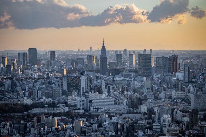 Aerial view of buildings in shinjuku city