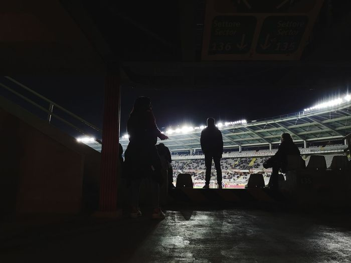 The match Sport Stadium Crowd Watching City Full Length Men Silhouette Music Concert Stage Light Tunnel Live Event