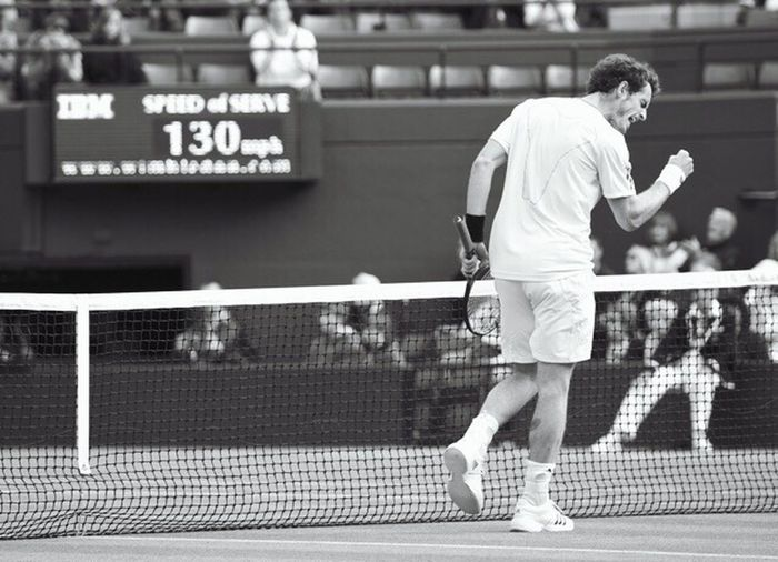 Andy Murray smashes his fastest Ace to win a game on centre court, Wimbledon. Tennis Andymurray Sports Photography