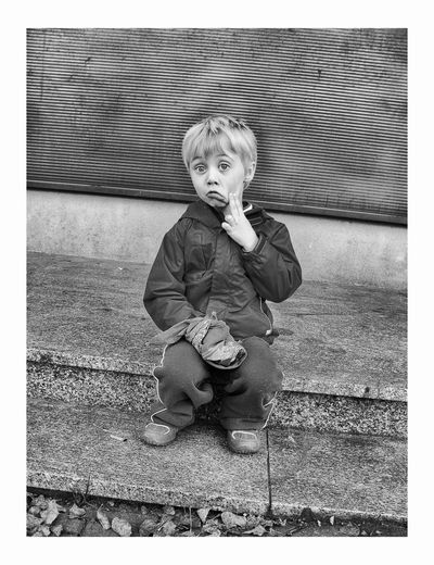 Piotr Adamczyk Photography Auto Post Production Filter Boys Casual Clothing Child Childhood Front View Full Length Innocence Leisure Activity Lifestyles Looking At Camera Males  Men Mouth Open One Person Portrait Preschool Student Real People Sitting Transfer Print