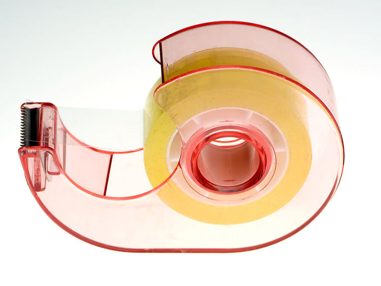snail Adjust Blade Close-up Glue No People Paper Plastic Red Scotch Scotch Tape Snail Sticker Sticky Studio Shot Toothed Blade Transparent White Background Yellow