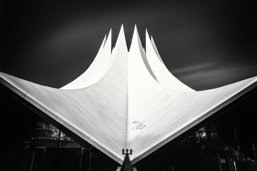 Roof of the tempodrom in Berlin, Germany. Abstract Abstractarchitecture Architectural Detail Architecture Architecturelovers Arts Culture And Entertainment Berlin Berlin City Blackandwhite Check This Out Deutschland Europe Fine Art Photography Fineart Germany Landmark Long Exposure Metropolis Modern Philipp Dase Relaxing Roof Sky And Clouds Tempodrom Urban Icon