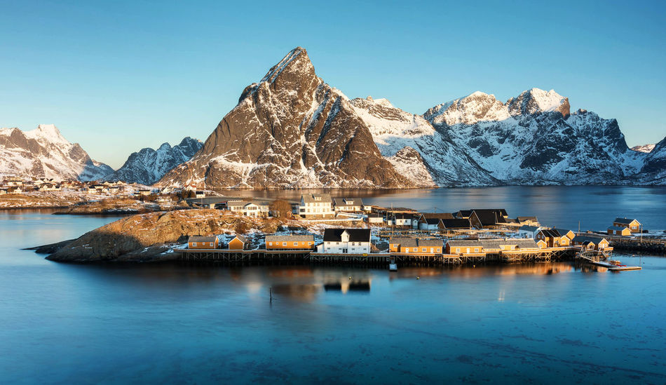 Sunrise in Sakrisøy Morning Norway Sakrisøy Winter Beauty In Nature Blue Clear Sky Cold Temperature Lofoten Mountain Mountain Range Nature No People Outdoors Scenics - Nature Sea Snowcapped Mountain Solid Tranquil Scene Tranquility Water Waterfront