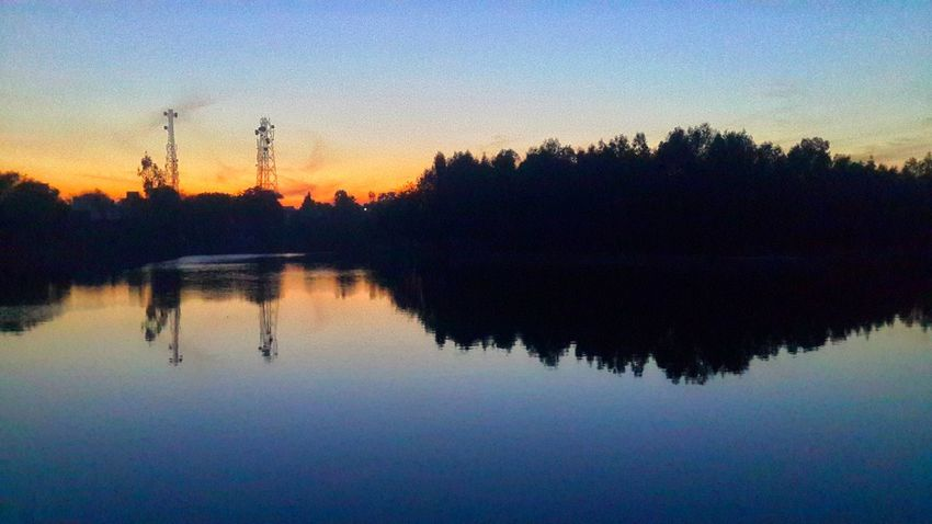 Reflection Sunset Water Sky Tree Nature Lake Outdoors Beauty In Nature No People Tranquility Reflection Lake GALAXY S4 India Nightphotography Light And Shadows Night Lights landscape Nature photography
