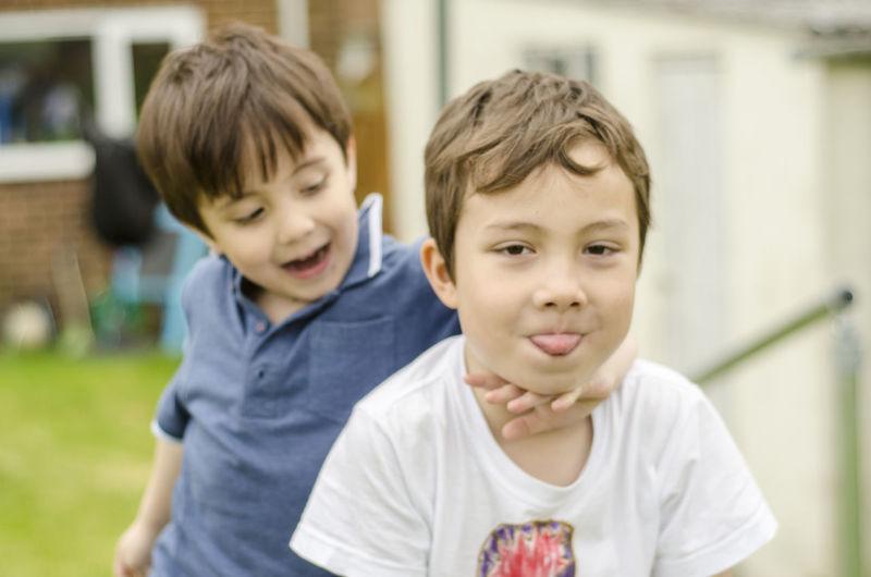 Portrait Of Boys Outside