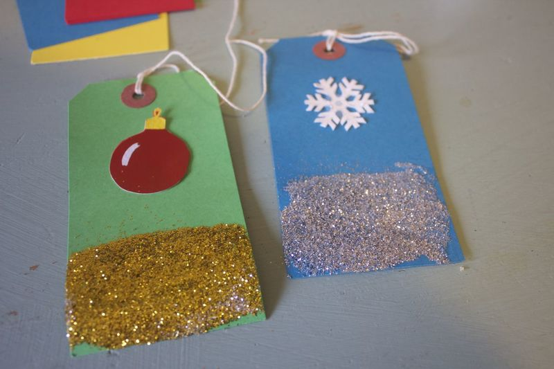 making christmas present tags Christmas Crafts Holiday Gifting Art And Craft Blue Celebration Choice Close-up Craft Creativity Decoration Emotion Flag Hanging High Angle View Indoors  Multi Colored No People Paper Shape Still Life Table Variation