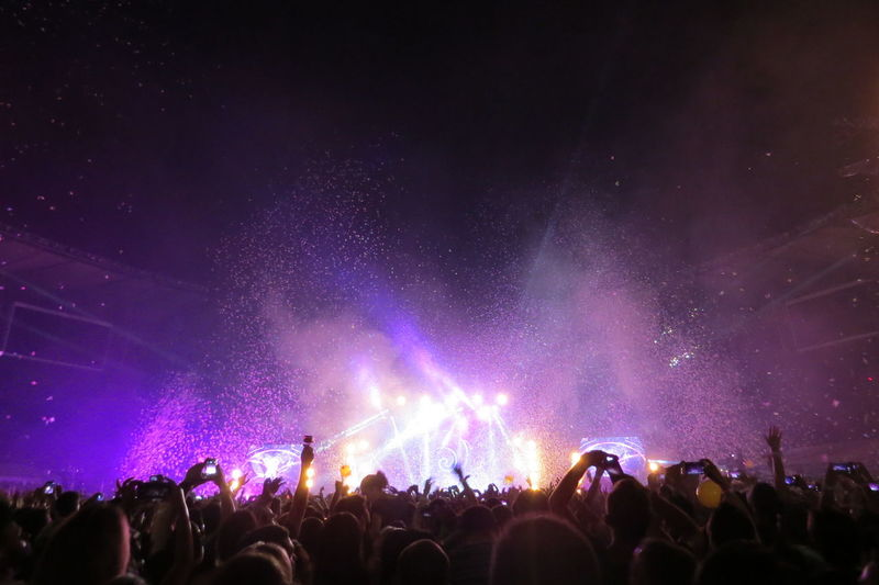 Rear view of crowd during music concert at night