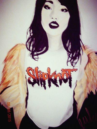 MyDrawing Asian Girl Slipknotshirt Slipknot Metal Song Fourrure Art, Drawing, Creativity Drawing ✏ Just Drawing Pencil Drawing