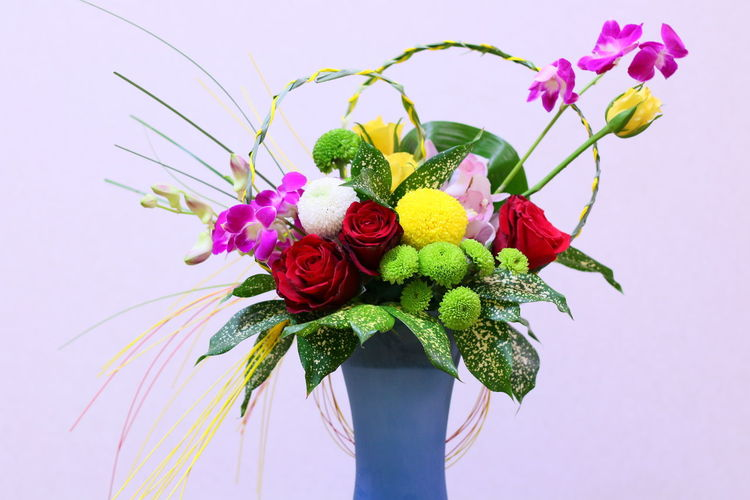Close-up of flower vase against white background