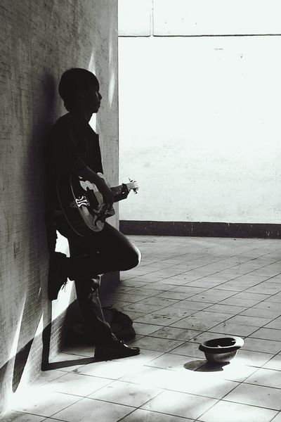 TCPM One Man Only People Real People Underground Guitarist Guitar Full Length One Person Casual Clothing Side View Sitting Adults Only Adult Day Indoors  Only Men Young Adult First Eyeem Photo TCPM