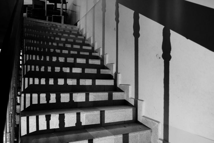 Abandoned Architecture Blackandwhite Built Structure Dark Day Grunge Hand Rail Indoors  No People Railing School Shadows Staircase Stairs Steps Steps And Staircases