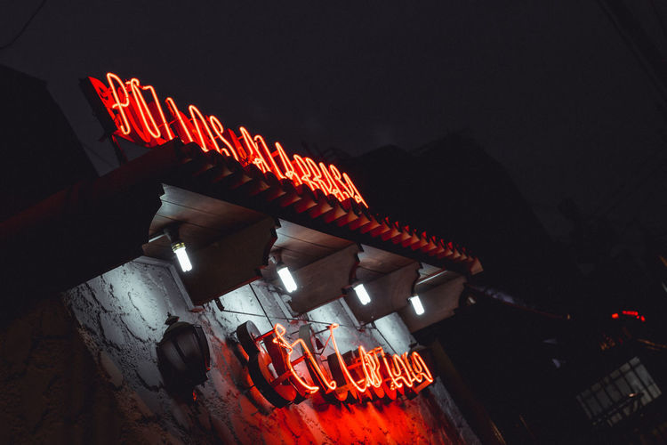 Illuminated Red Arts Culture And Entertainment Neon Communication Architecture