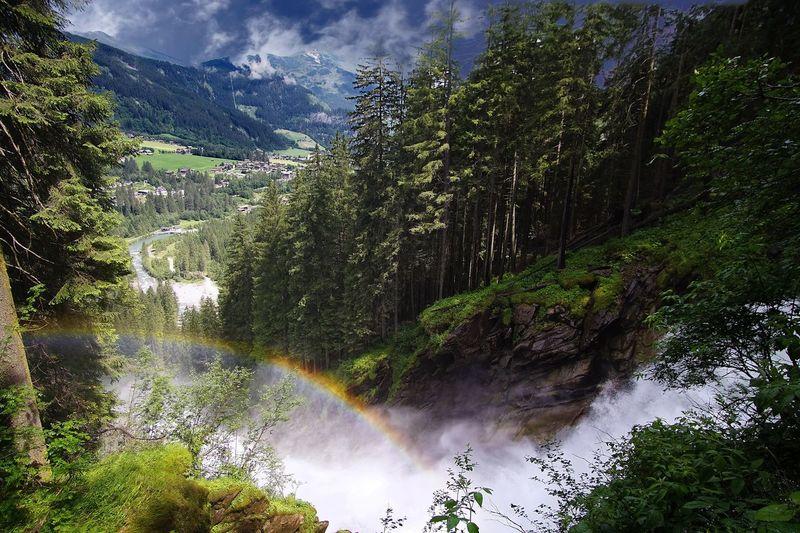 Rainbow Waterfall Österreich Hikingadventures Hiking Austria Alps Rainbow Krimml Waterfalls Krimml Tree Plant Water Growth Nature Beauty In Nature Cloud - Sky Non-urban Scene Outdoors Scenics - Nature Tranquility No People Sky