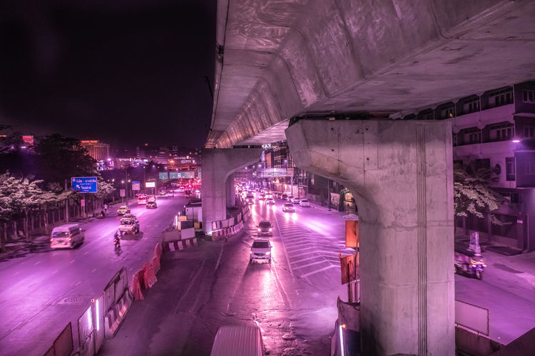 bridge Bangkok - serie incandescence Architecture Night Illuminated Built Structure Transportation Bridge City Bridge - Man Made Structure Building Exterior Road Street Connection Nature The Way Forward Motion No People Direction Snow Architectural Column Purple Neon Glowing Incandescence Cyberpunk Bangkok