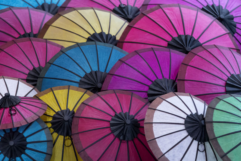 Full frame shot of multi colored toy umbrellas