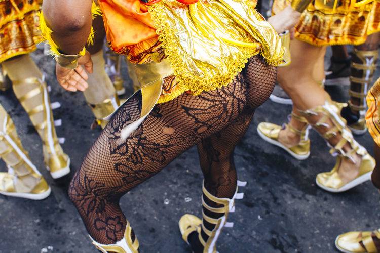Low section of females in costume during carnival
