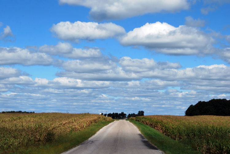 Empty road amidst field against sky