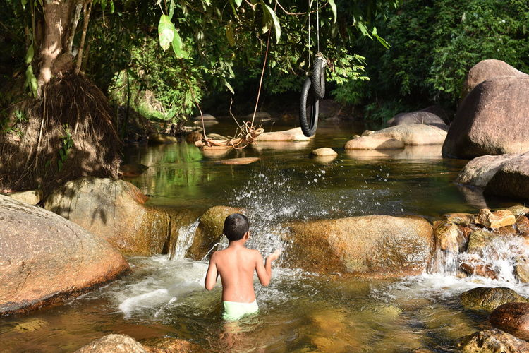 Rear view of shirtless man looking at river in forest