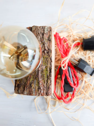 Close-up of light bulb on wood against white background