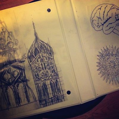 Current folder inserts. Some drawings I did. Drawing Architecture Compass Brain Sketch Doodle Me