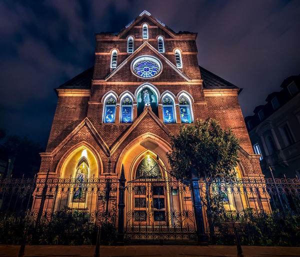 Church in Tbilisi Architecture Architecture_collection Night Photography Nightphotography Architecture Building Exterior Built Structure Cloud - Sky Cross Façade History Illuminated Long Exposure Low Angle View Night No People Outdoors Place Of Worship Religion Sky Spirituality Tree Window