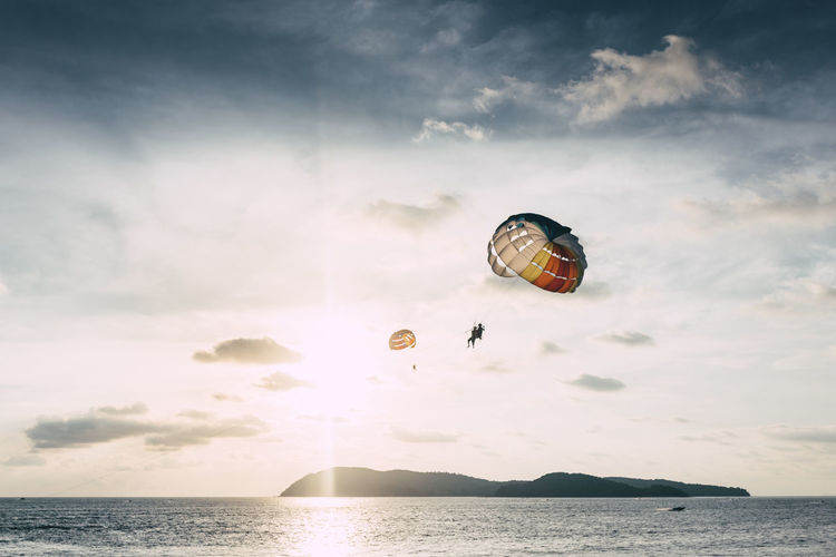 Adventure Extreme Sports Flying Horizon Over Water Langkawi Malaysia Mid-air Outdoors Parachute Paragliding Scenics Sea Sky Sport Sunset Water Go Higher