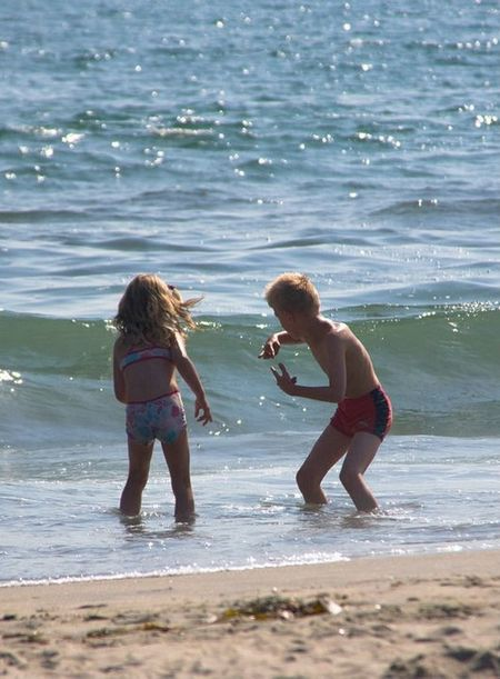 Faces Of Summer Beach Waves kids trying to beat the waves Summer Views Blue Wave