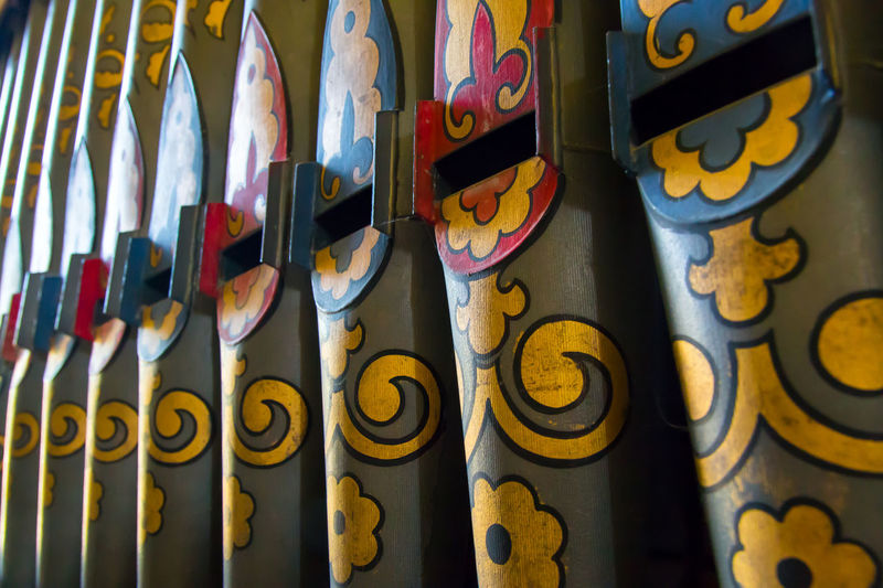Church organ pipes with light and shadow Church Organ Pipes Close-up Details Textures And Shapes Indoors  Light And Shadow Multi Colored No People Old
