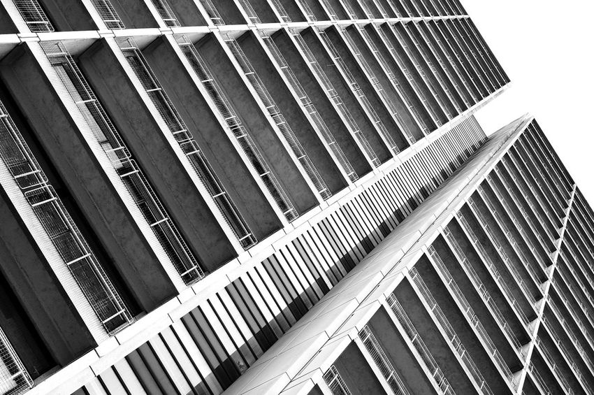 Architectural Feature Architecture Beton Blackandwhite Brutalism Building Built Structure Design Diminishing Perspective Directly Below Façade Hospital Lines And Shapes Low Angle View Modern No People Outdoors Pattern Repetition Sky Tall - High Tilt Concrete