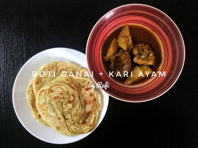 Roti Canai And Curries Food Black Background Day
