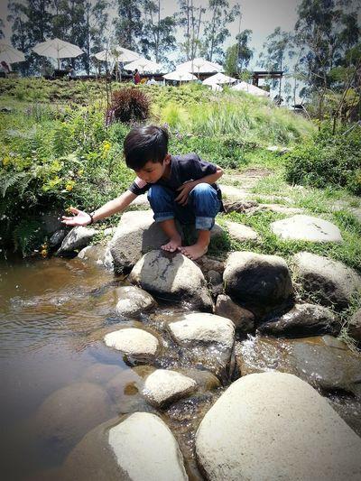 Rock - Object Nature Boys River View Playing Family Fun Lembang, West Java Dusun Bambu