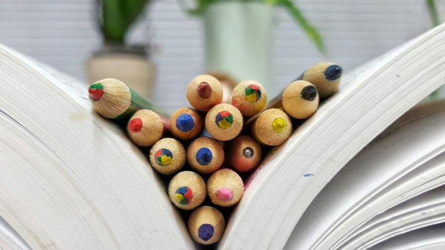 Detail Shot Of Colorful Pencils In Book
