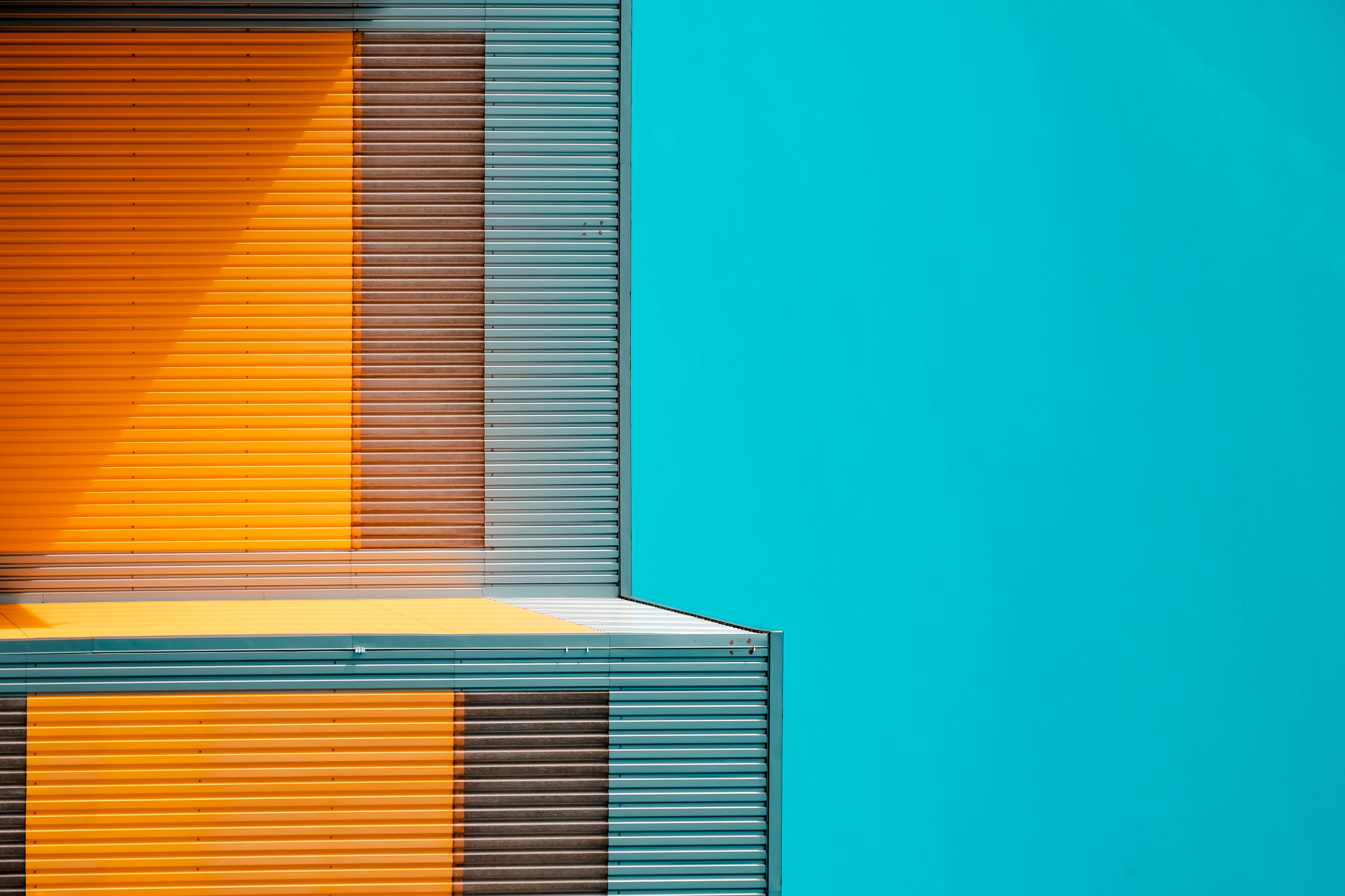 blue, window covering, no people, copy space, window blind, architecture, backgrounds, orange color, yellow, built structure, shutter, wall - building feature, blinds, pattern, building exterior, window, line, interior design, building, metal, multi colored, sunlight