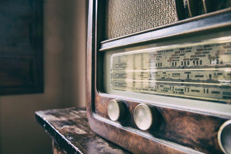 Close-up view of radio