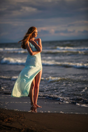 Woman Looking Away On Beach