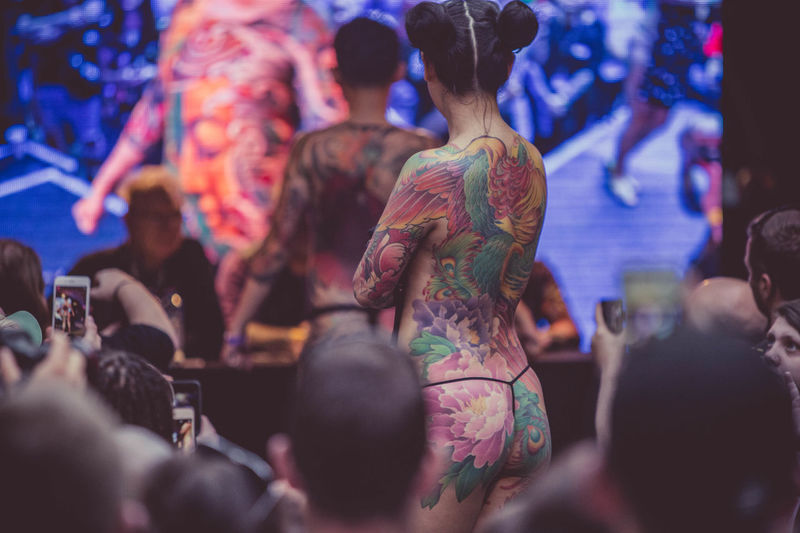 EyeEm Selects London Tattoo Convention Competition Crowd People Back Arts Culture And Entertainment Performance Stage - Performance Space Multi Colored Female Colours Young Adult Catwalk Jury Season  London Tobacco Dock