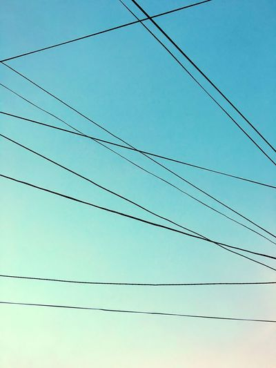Tangled Clear Sky Cable Power Line  Electricity  Connection Blue Outdoors Nature Geometry Lines Spring Day Gradient
