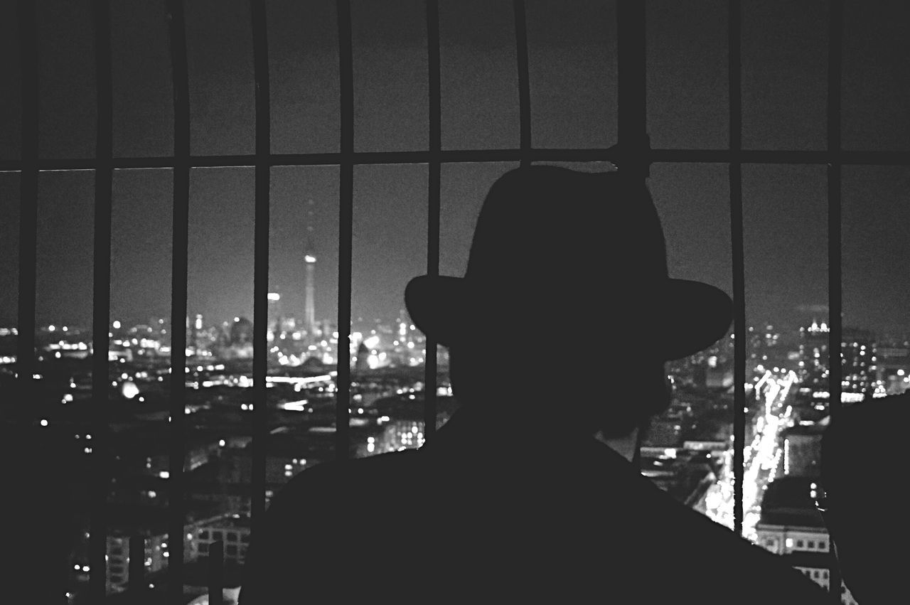 Rear view of man looking at illuminated cityscape from metal bars at night