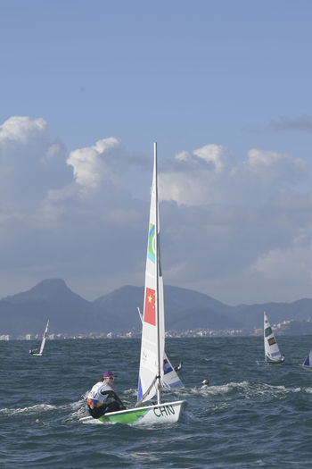 Rio, Brazil - august circa, 2016: Rio 2016 Olympic Games Sailing held at Marina da Gloria, Guanabara Bay OLYMPIC GAMES 2016 RIO DE JANEIRO BRASIL 🇧🇷 Olympic Games 2016 Competition Day Guanabara Bay Nature Ocean Outdoors Rio2016 Sailling Sea Water