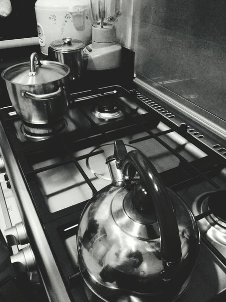 Monochrome Photography Indoors  Close-up Still Life Food And Drink Kitchen Utensil Large Group Of Objects No People Freshness Jakarta Indonesia Domestic Kitchen Kitchen Domestic Room Stove Burner - Stove Top Indoors  Gas Stove Burner Kitchen Counter Stainless Steel  Domestic Life Home Interior Preparation  Appliance Cooking Utensil Preparing Food Steam Espresso Maker Oven Steel Food