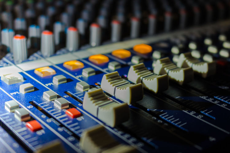 Arts Culture And Entertainment Audio Equipment Close-up Connection Block Control Control Panel Indoors  Knob Mixing Music No People Radio Station Recording Studio Sound Mixer Sound Recording Equipment Studio Switch Technology