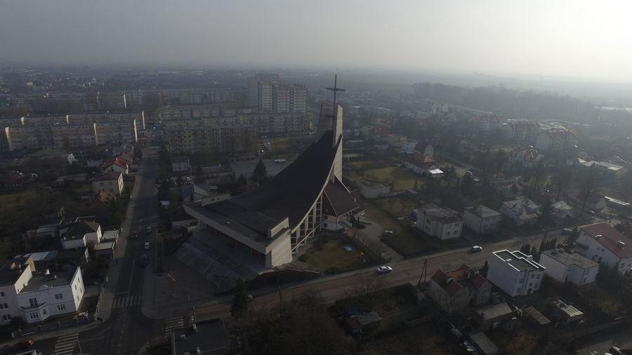 Aerial View Church Cityscape Cloudy Dusk Flying High Fog