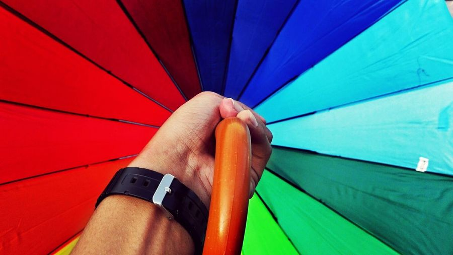 Cropped hand of man holding multi colored umbrella