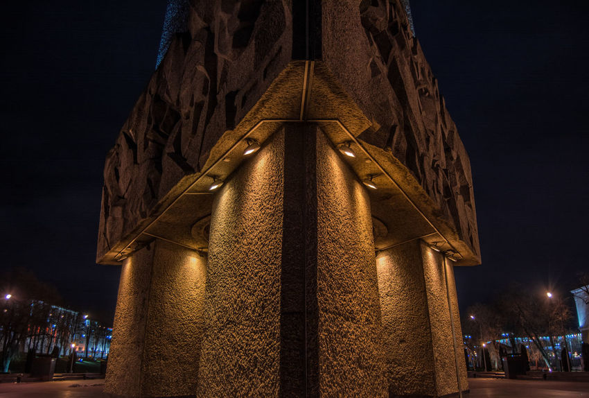 Monument From My Point Of View By Ivan Maximov Eyeem Photo The Week On EyeEm Belarus City Vitebsk,Belarus Great Outdoors Traveling Historical Monuments Traveling EyeEm Selects Night Illuminated Christmas Lights Architecture Built Structure Travel Destinations Outdoors No People Building Exterior City Sky Cityscape