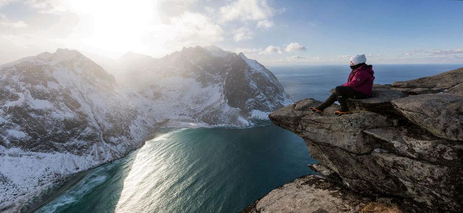 Ryten views Norway View Winter Activity Adventure Beauty In Nature Day Hike Leisure Activity Lofoten Mountain Nature One Person Outdoors Real People Rock Ryten Scenics - Nature Sport Summit Sun