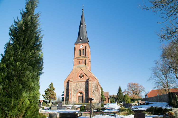 View of church against blue sky